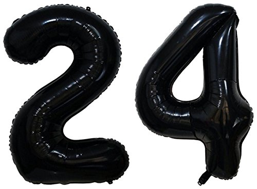 (ZiYan 40 Inch Giant 24th Black Number Balloons,Birthday/Party)