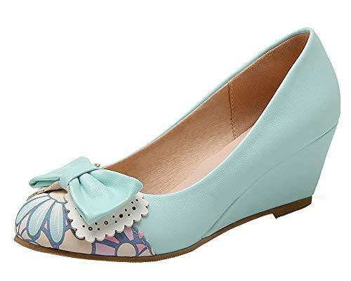Talon Gmbdb013304 Femme Bleu Rond Bas À Agoolar Chaussures Légeres Tire Couleurs Mélangées vtqZvU