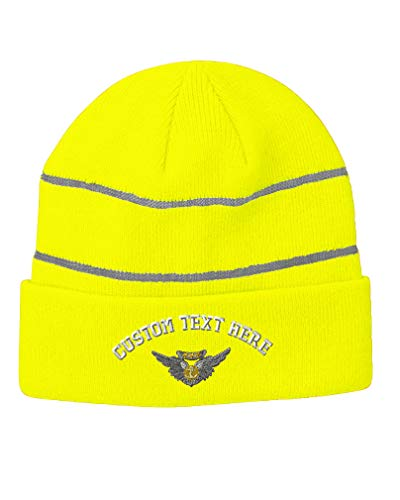 Custom Text Embroidered Aircrew Medal Unisex Adult Acrylic Reflective Stripes Beanie Skully Hat - Neon Yellow, One (Air Medal Hat)