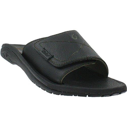 OluKai Men's Ohana Leather Slide Black/Black Sandal 14 D (M)