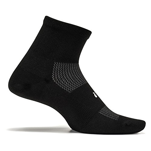 Feetures - High Performance Ultra Light - Quarter - Athletic Running Socks for Men and Women - Black - Size -