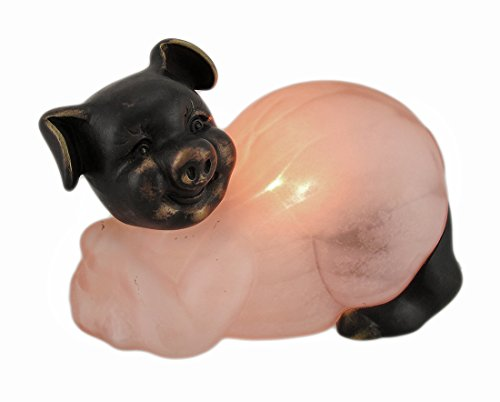 Mottled Bronze Finish - Bronze Finished Mottled Pink Glass Pig Accent Lamp