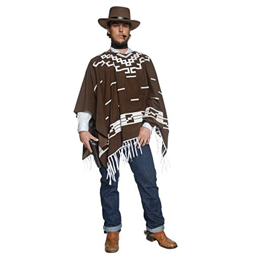 Smiffy's Deluxe Authentic Western Wandering Gunman Costume with Poncho, Brown, Large