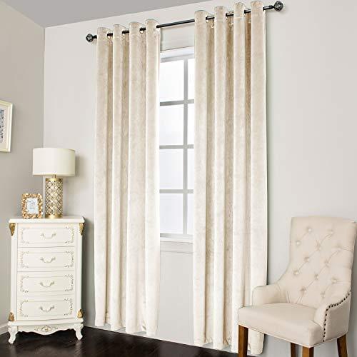 Super Soft Luxury Velvet Curtains for Living Room Light Blocking Velvet Curtain Panels Privacy Grommet Window Drapes for Bedroom/Sliding Glass Door, 2 Panels (Cream, 38W84L)