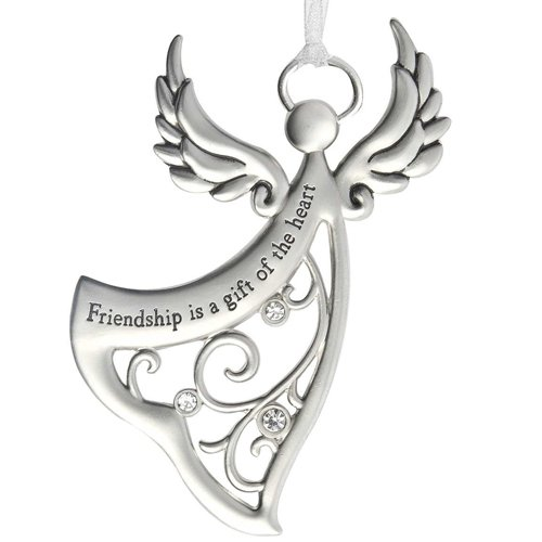 Ganz Angels By Your Side Ornament - Friendship is a gift of the heart,Silver / Black