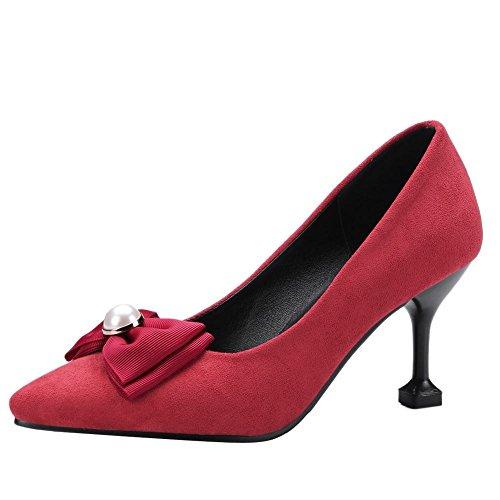 Mee Shoes Damen high heels mit Schleifen spitz Pumps Rot