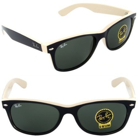New Ray Ban RB2132 875 Black on Beige Frame/Crystal Green 52mm - Ray Ban Sale On Glasses