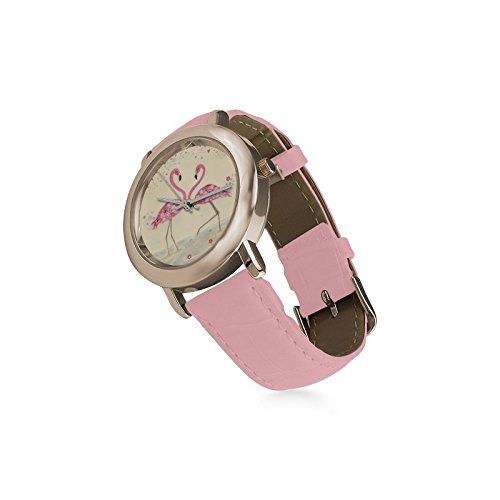 Christmas Day/Thanksgiving Day Gifts Two Flamingos Love Women's Gold Leather Strap Watch