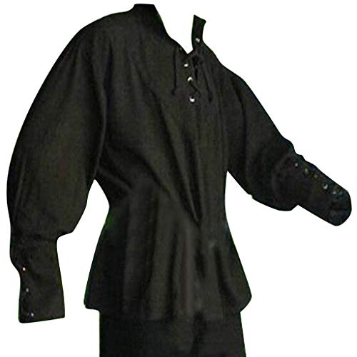 Men Medieval Costume,Lace Up Renaissance Costume Mercenary Scottish Wide Cuff Coats (Asian Size:XXXL, Black)