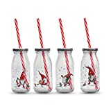 Santa Gnome Milk Jar Drinking Cups with Lids, and Reusable Straws, Set of 4, Red and White Lids, Reusable Straws, 8 Fluid Ounces (250 ml) Clear, Dishwasher Safe Glass