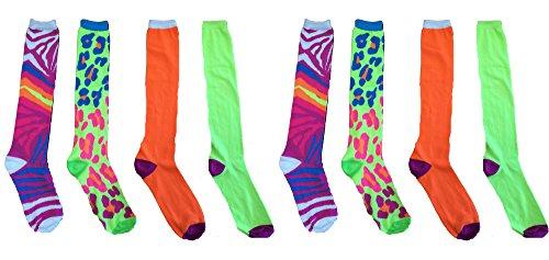 Tall Boot Knee High Over the Calf Ladies Knee-hi Novelty Socks (Neon Green Leopard print - Neon Pink Zebra print - Lime Green with purple toe heel - Neon Orange with purple toe heel (8 Pack - 2 Of Each Style))