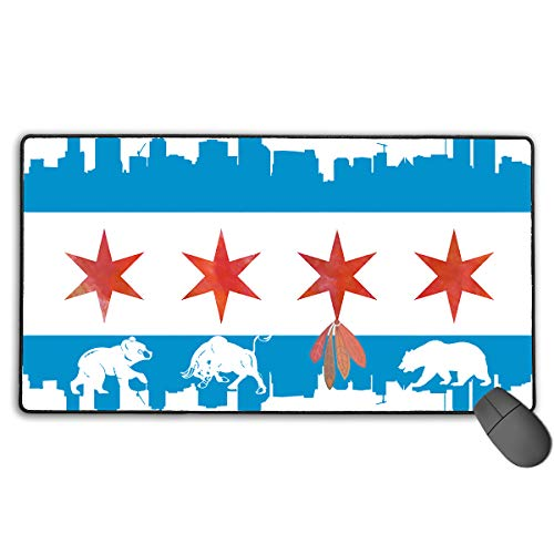 Chicago Flag Skyline Bear Bull Non-Slip Rubber Mouse Mat Mouse Pad Perfect Design for Desktops, Computer, PC and Laptops 15.7 X 29.6 Inch