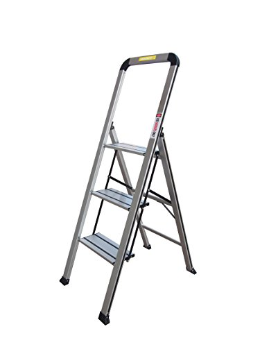 Toprung Lightweight Slim 3-Step Stool Aluminum Ladder Portable Folding Anti-Slip with Rubber Hand Grip, Silver Household Stepladders WP-648 ()