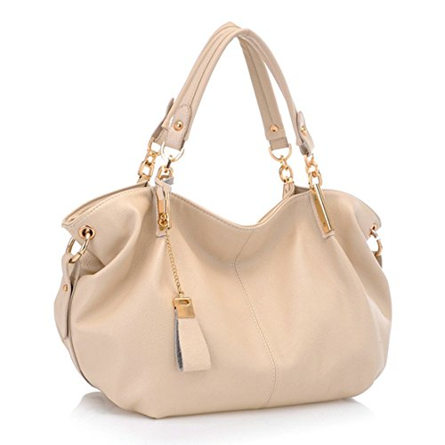 33a6a853a36b Montmo Women Soft Leather Handbags Casual Simple Hobo Style Shoulder Bags  Tote Cross Body Purses(Beige)