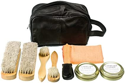 Cathcart Elliot Best Shoe Cleaning Kit in Leather Bag 5 brushes 2 tins wax polish