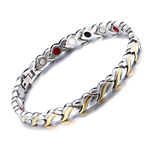 WangGao Women Men Unsiex Twisted Healing Magnetic Bracelet Pain Relief for Arthritis and Carpal Tunnel,Silver with Gold