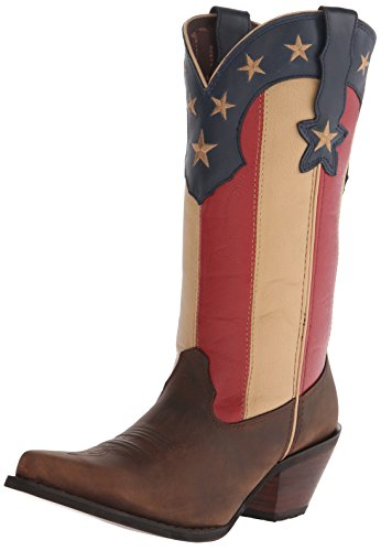 Women's Western Stars Dark Flag Brown Union Crush Boot Durango Stripes and SwqSPdX