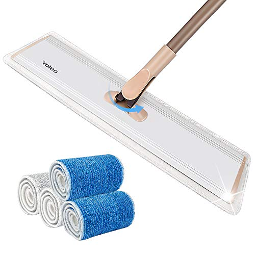 24 Professional Microfiber Mop, Yeleo Flat Mop with Telescopic Handle +4 Premium Mop Pads, Dust Mop for Hardwood Floor,Laminate and Tile Floor, Home and Kitchen Cleaning