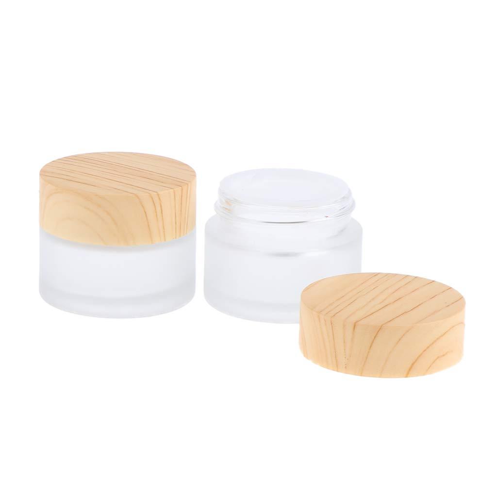 B Blesiya 2x Pot Vide en Verre R/écipient Cosm/étique avec Couvercle pour /Échantillon de Cr/èmes Stockage de Maquillage 50g