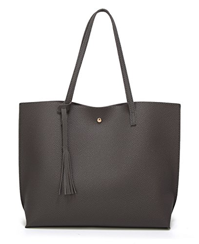 Women's Soft Leather Tote Shoulder Bag from Dreubea, Big Capacity Tassel Handbag Dark Grey