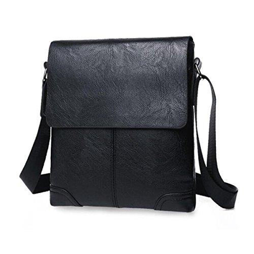 BUKUANG Bolsa De Hombro De Los Hombres De Negocios De Ocio Sección Vertical Messenger Bag Mochila,Black Black