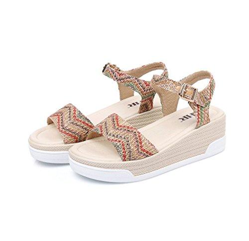 Sandales Coins De couleur Chaussures Spartiates 37 Casual Marron Bohème Étudiants Style Taille Dames t6O6Zqw4