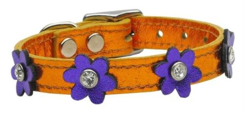 "Mirage Pet Products 83-08 14OrM-PRM Flower Leather Dog Collar, 14"", Apricot/Metallic Purple"