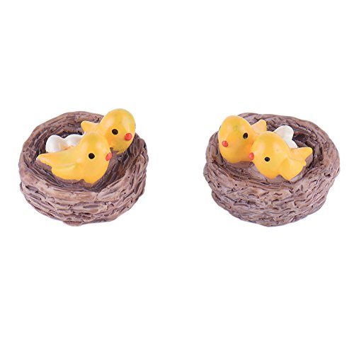 TATEELY 4 Pcs Yellow Bird Nest Animal Miniature Fairy Garden Home Houses Decoration Mini Craft Micro Landscaping Decor DIY Accessories For Sale