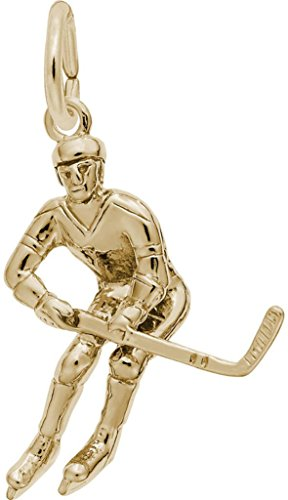 Player Charm Gold Plated (Rembrandt Male Hockey Player Charm - Metal - Gold-Plated Sterling Silver)