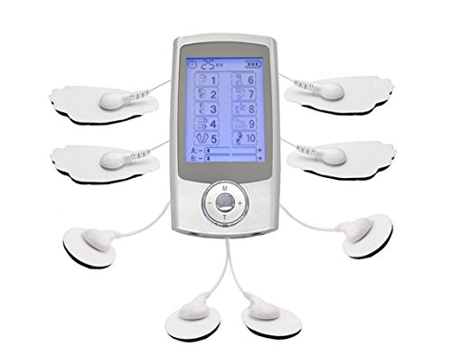2 Channel Electronic - FDA Cleared Rechargeable TENS Unit, FLYMEI 10 Modes 2 in1 Dual AB Channel Portable Full Body Handheld Muscle Pain Relief Machine Electronic Pulse Impulse Massager Body Massager Sport Massager