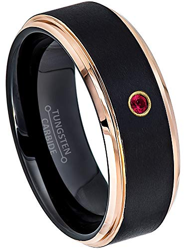 Jewelry Avalanche 0.07ct Ruby Tungsten Ring - July Birthstone Ring - 8MM Comfort Fit Matte 2-Tone Black & Rose Gold Stepped Edge Tungsten Carbide Wedding Band -12 ()
