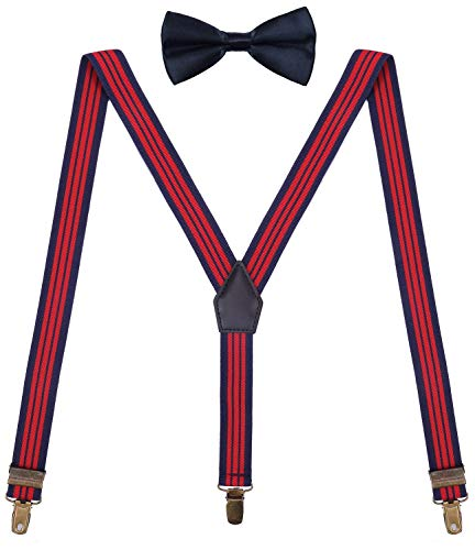 ORSKY Men's Suspenders and Bow Tie Set Adjustable with Bronze Metal Clips 48'' Navy Red ()