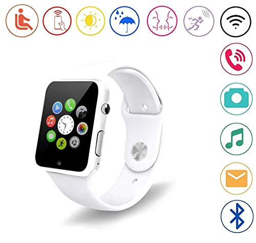YOKEYS Bluetooth Smart Watch with Touchscreen Camera,Unlocked Watch Cell Phone with Sim Card Slot,Smart Wrist Watch,Smartwatch Phone for Android Samsung iOS iPhone X 7 8 6S Men Women Kids (G White)