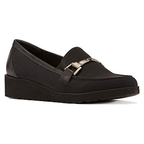 Walking Cradles Women's Flounce Boat Shoe Black Stretch/Black Cashmere