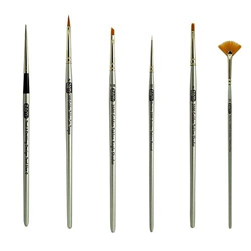 Golden Taklon Mini Detail Brush Set Fan 2/0, Flat 2, Cats Tongue 2, Angle 1/8