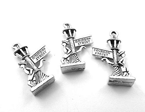 (Set of Three (3) Pewter Bourbon Street Sign Charms - 0055 for Jewelry Making Bracelet Necklace DIY Crafts)