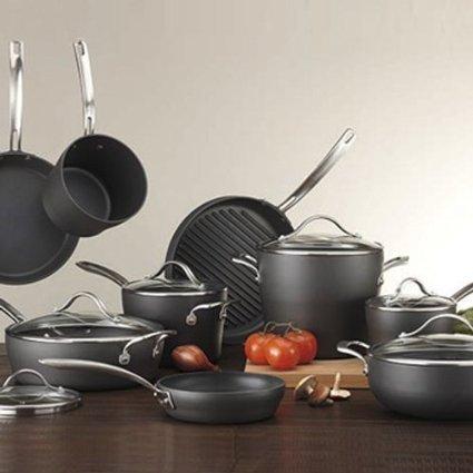 Excelente calidad Kirkland Signature 15 piezas Anodizado duro de cocina