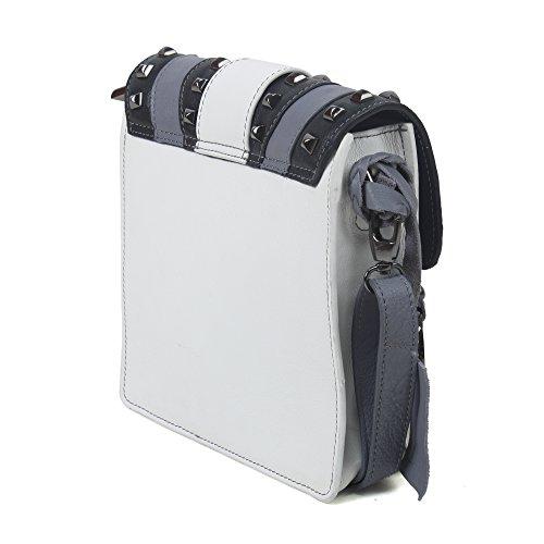 Phive Rivers Sac bandoulière structuré en cuir tricolore gris, noir et blanc - Day - PR1014