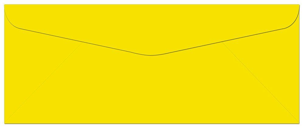 100 Yellow #10 Envelopes - 9.5'' x 4.125'' - Standard Flap