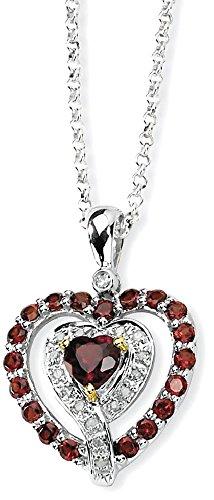 14k Garnet Jewelry Set (ICE CARATS 925 Sterling Silver 14k Red Garnet Diamond Chain Necklace Gemstone Fine Jewelry Gift Valentine Day Set For Women Heart)