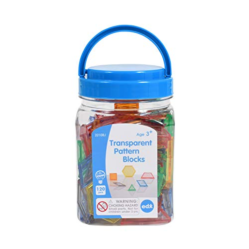 edx education Transparent Pattern Blocks - Mini Jar - Plastic Pattern Blocks - Practice Sorting, Patterns, Measurement and Fractions - Sensory Play - Math Manipulative