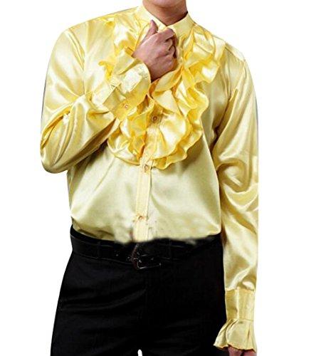 New Fensajomon Mens Vintage Ruffle Long Sleeve Button Down Dancing Dress Shirt Blouse Tops for cheap
