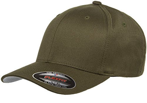 Original Flexfit Wooly Cotton Twill Cap 6277, Stretch Fit Baseball Cap w/Hat Liner L/XL Olive