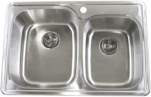 33 Inch Top-mount Drop-in Stainless Steel 60 40 Double Bowl Kitchen Sink – 18 Gauge