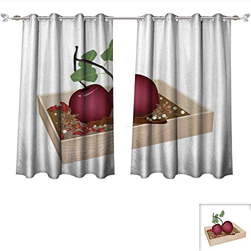 Dividers Container Hulk (Room Darkening Wide Curtains Christmas Apples and Spices in Wooden Container Tie Up Window Drapes Living Room W55 x L39/Pair)