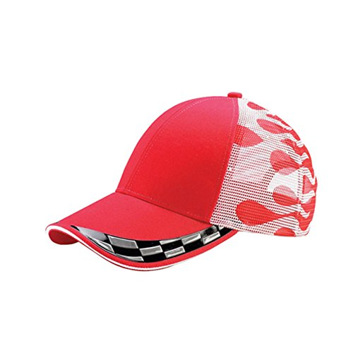 Racing Style Trucker Mesh Cap with Sandwitch Piping Bill (One Size, - Indy Apparel 500