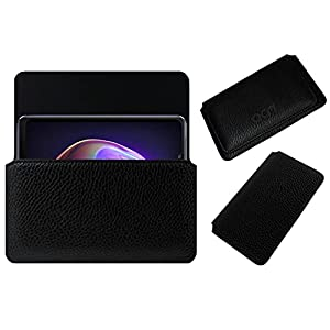 Acm Horizontal Case Compatible with Vivo V21 Mobile Leather Cover Pouch Black
