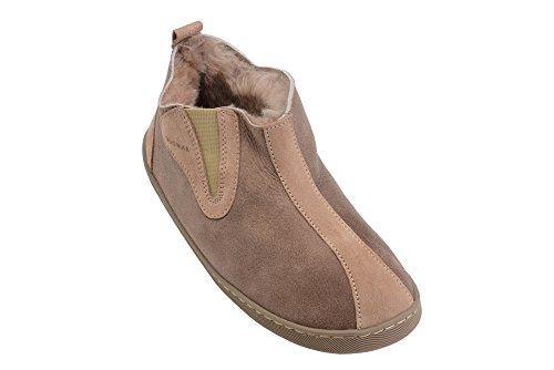 Unisex Pantofole Donna Pelle Beige Completamente Uomo Pelliccia da con Autentica in Pecora B001 Foderate e di gqr1qOd