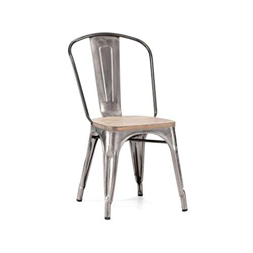 Design Lab MN Dreux Elm Wood Side Chair, Set of 4, Gunmetal Light Wood