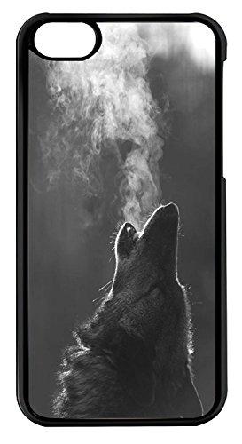 Coque Iphone 5C - Tete de loup hurlant fumee froid - Ref 418